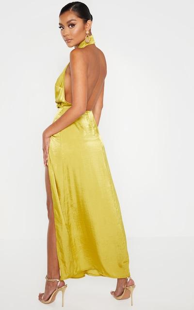 Light Lime Hammered Satin Halterneck Maxi Dress