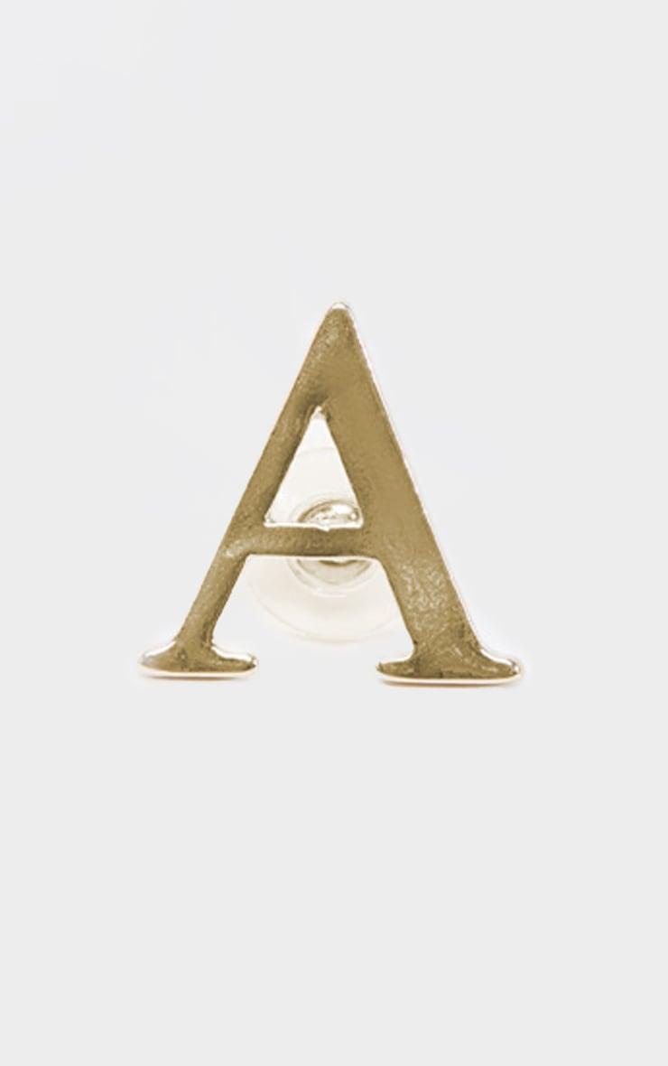 Gold A Letter Stud Earrings 1