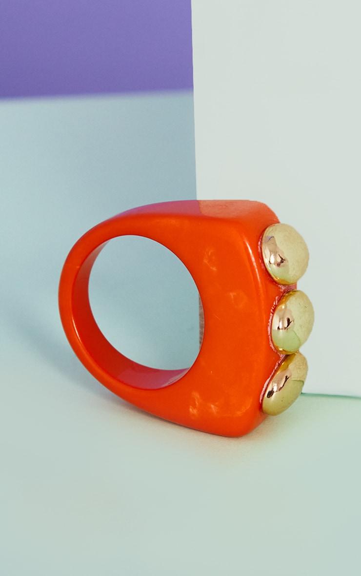 Orange Triple Gold Ball Resin Ring 2
