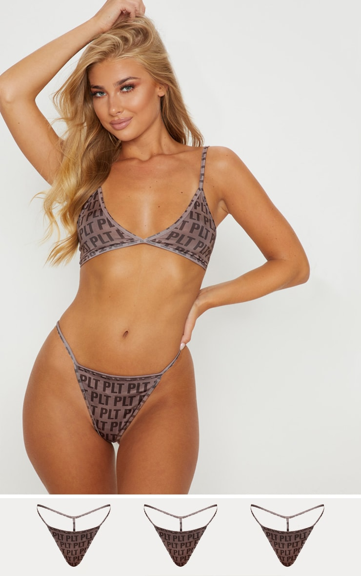 PRETTYLITTLETHING Mocha 3 Pack Repeat Print Knickers 1