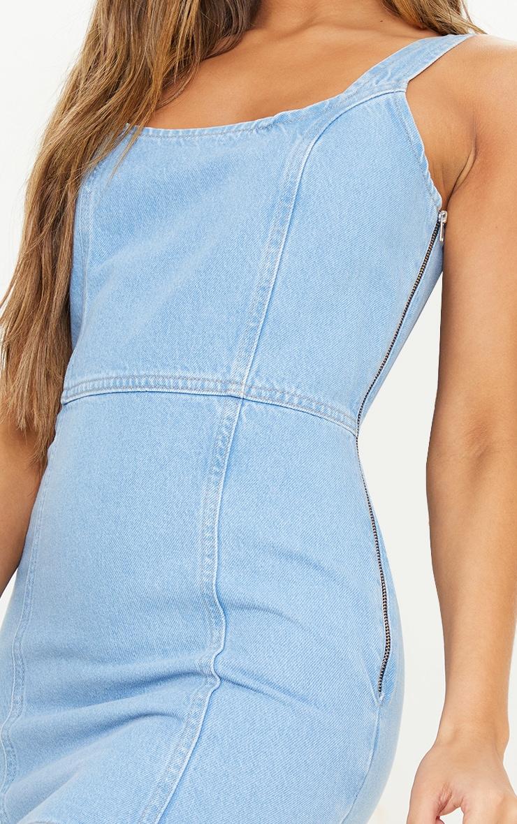 Light Blue Wash Zip Back Detail Denim Dress 4