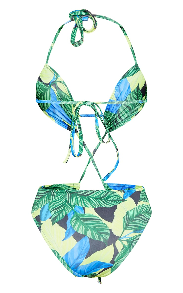 Green Leaf Extreme Cut Out Tie Front Swimsuit 6