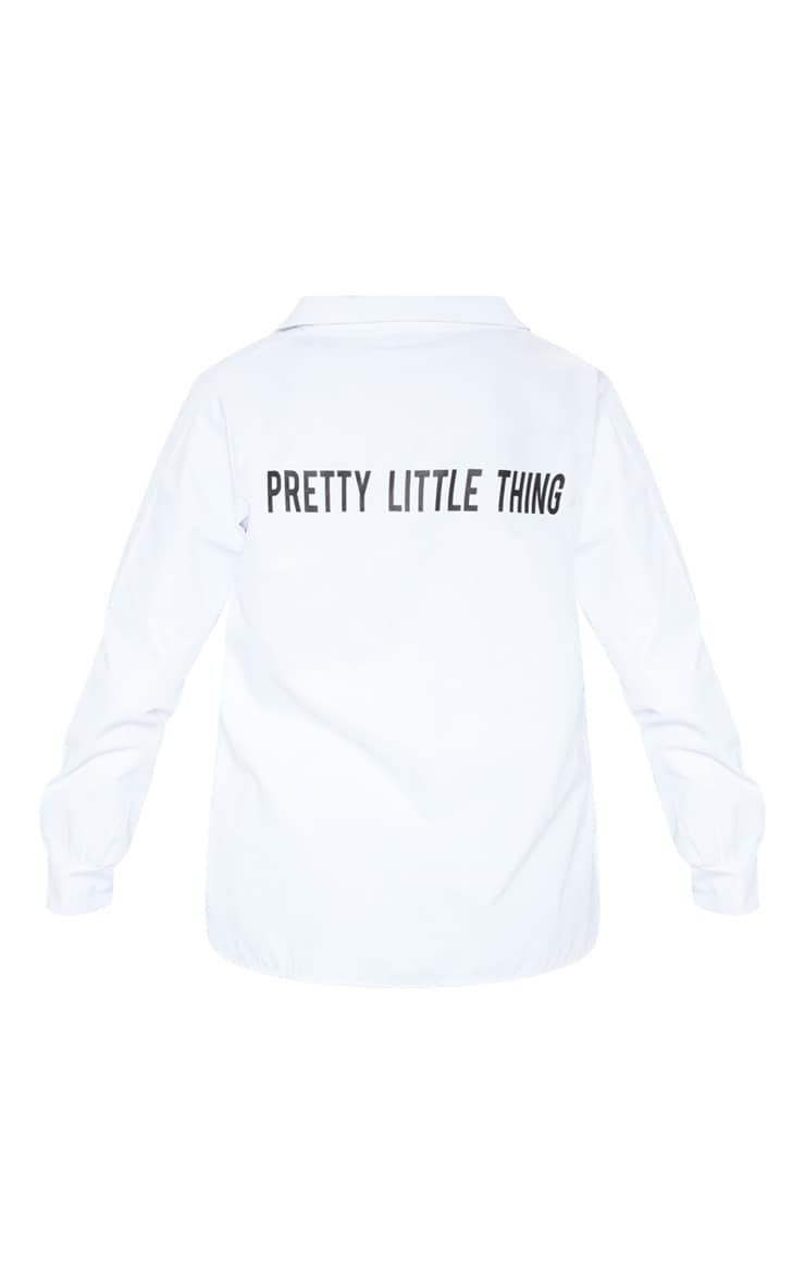 PRETTYLITTLETHING - Chemise blanche à slogan 4