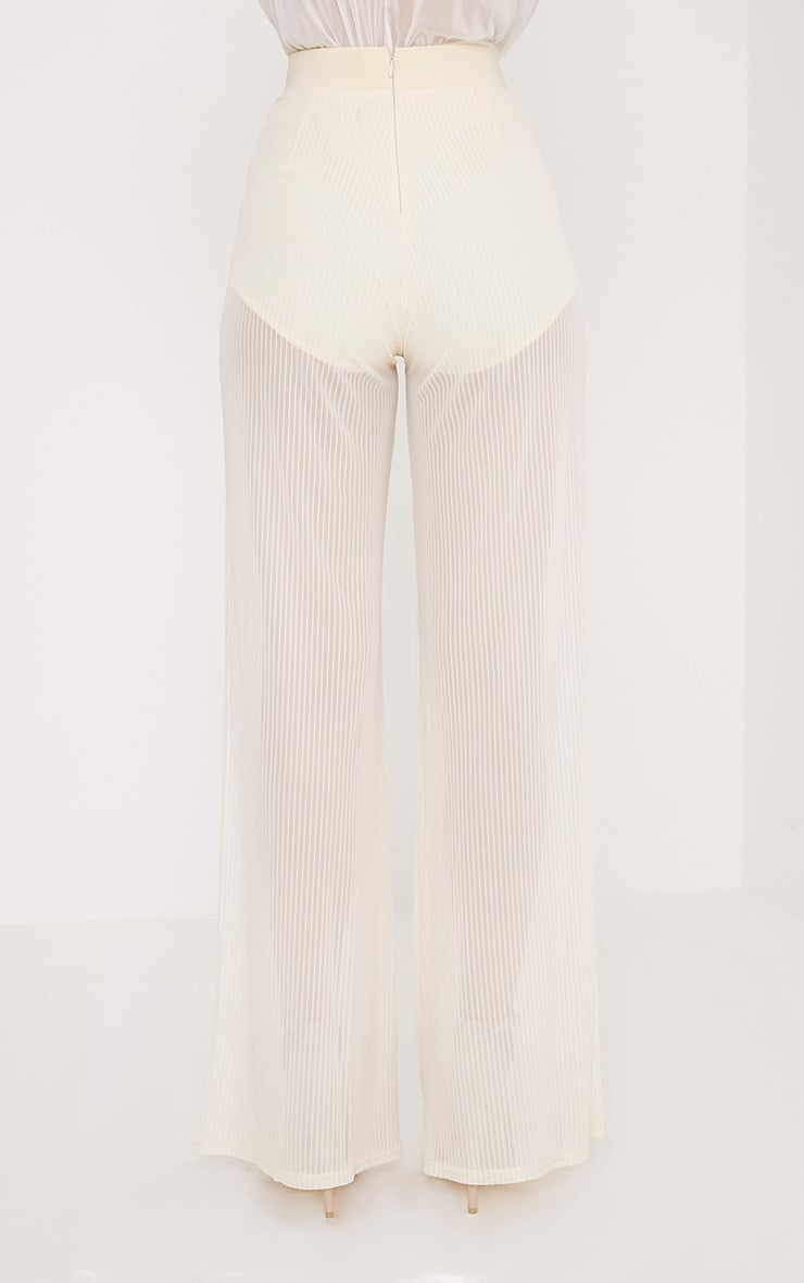 Shamira Pastel Lemon Sheer Stripe Wide Leg Trousers 4