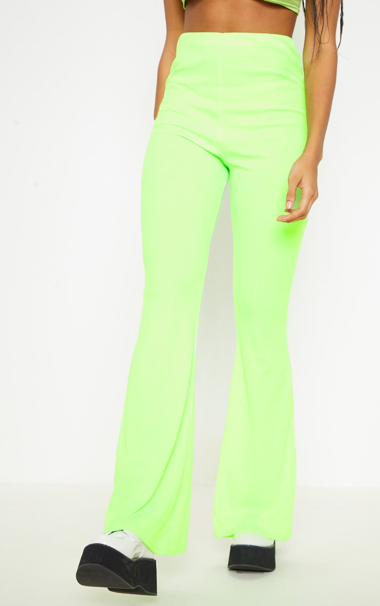 Neon Lime Ribbed Flared Trouser  2