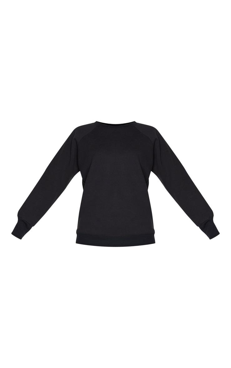 Black Basic Crew Neck Sweater 3