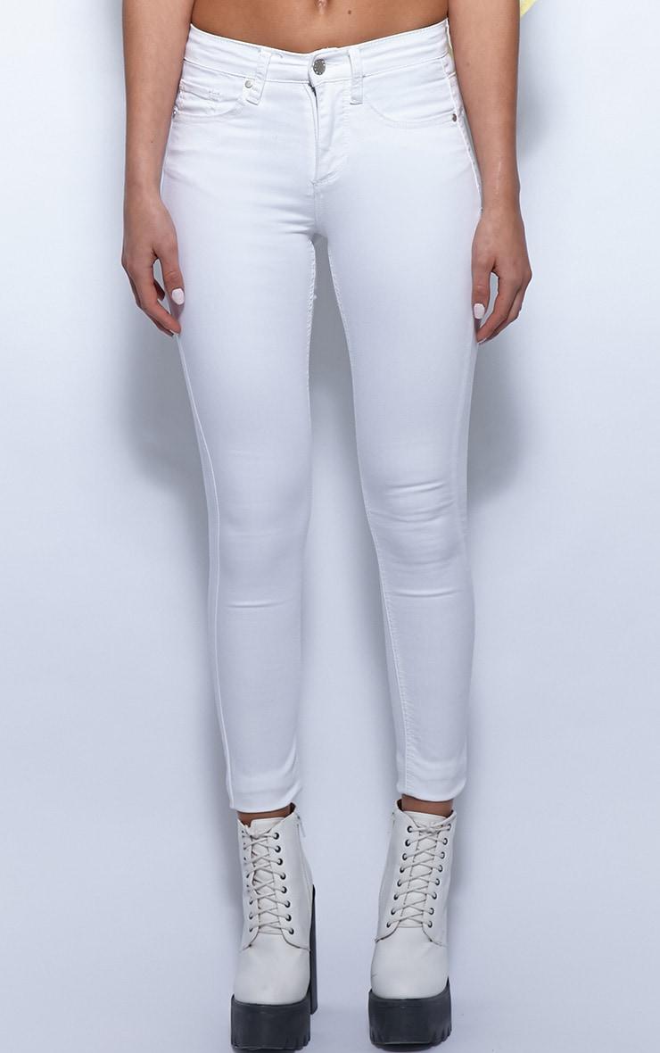 Kimmy White Ankle Grazer Skinny Jeans 3