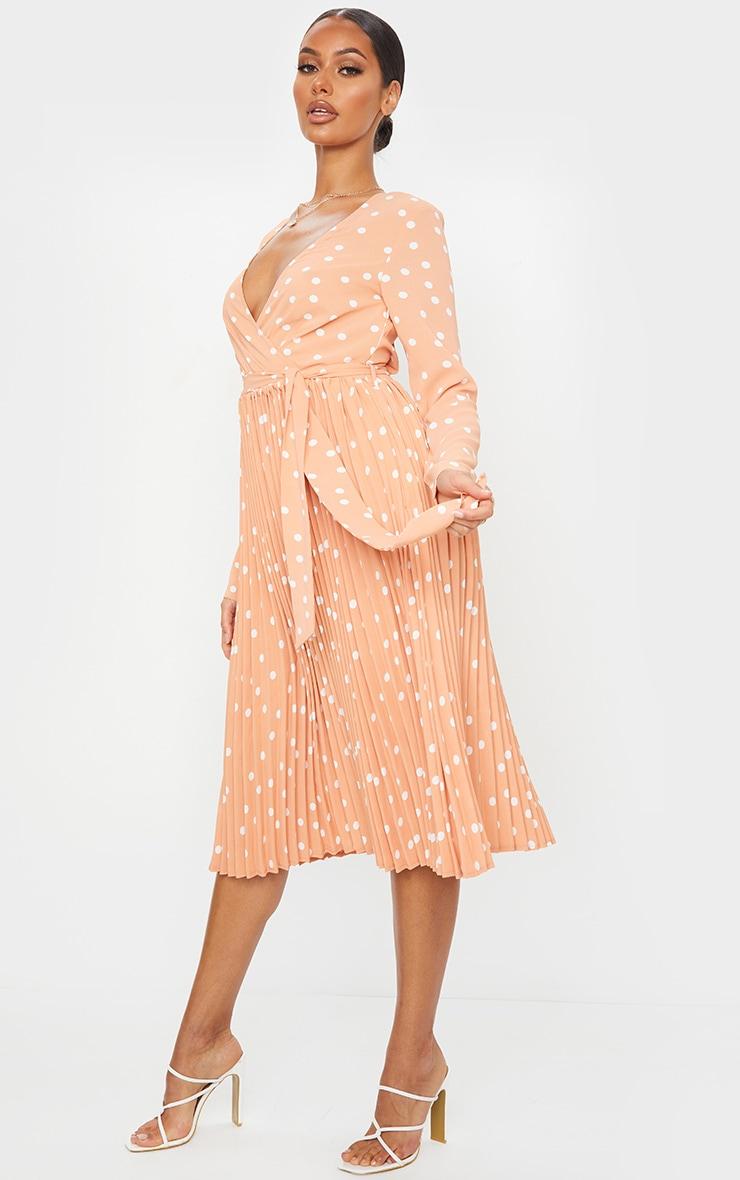 Robe mandarine imprimé pois mi-longue plissée à manches longues 3