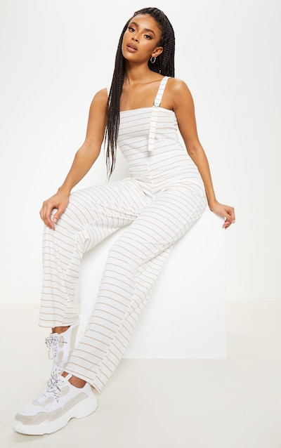 0e0f29986b9 Stone Striped D Ring Strap Detail Jumpsuit