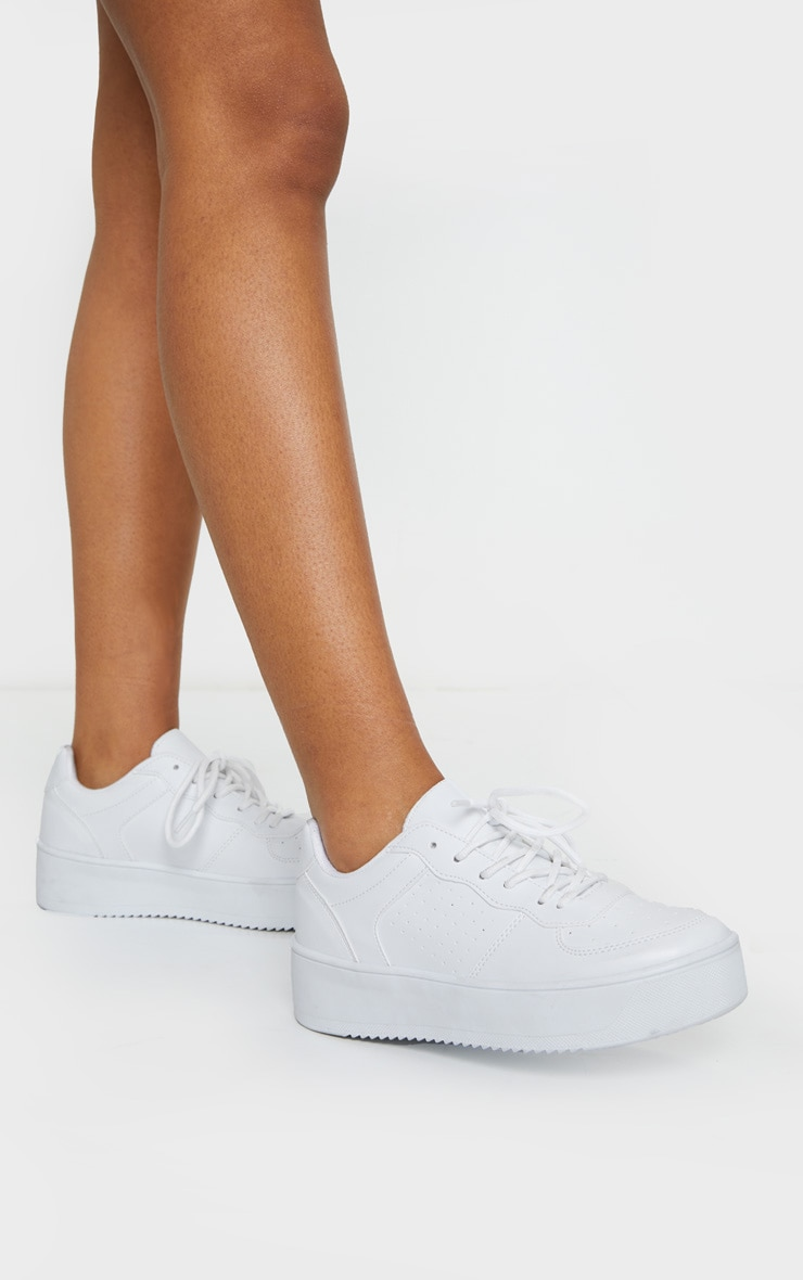 White Platform Sole Chunky Lace Sneakers 2