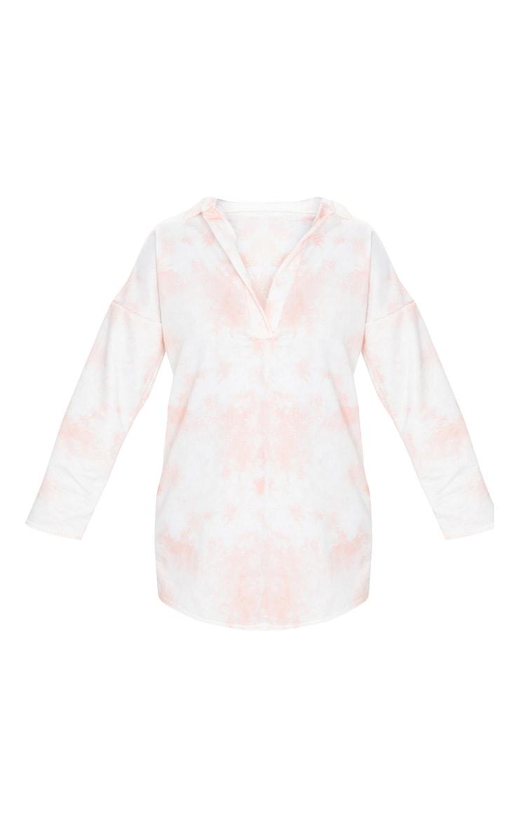 Blush Tie Dye Print Collar Detail Sweater Dress 5
