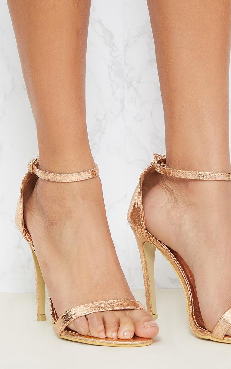 Sandales à talons & bride rose gold métallisées 5