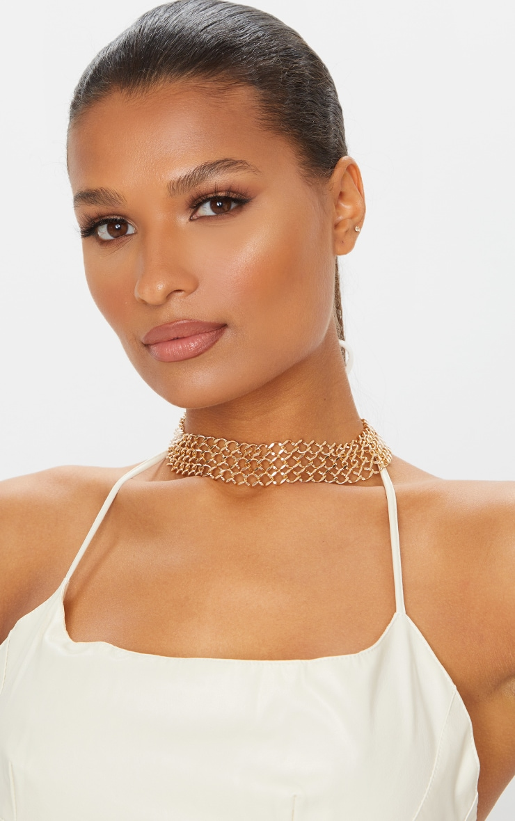 Gold 4 Row Chain Choker 1