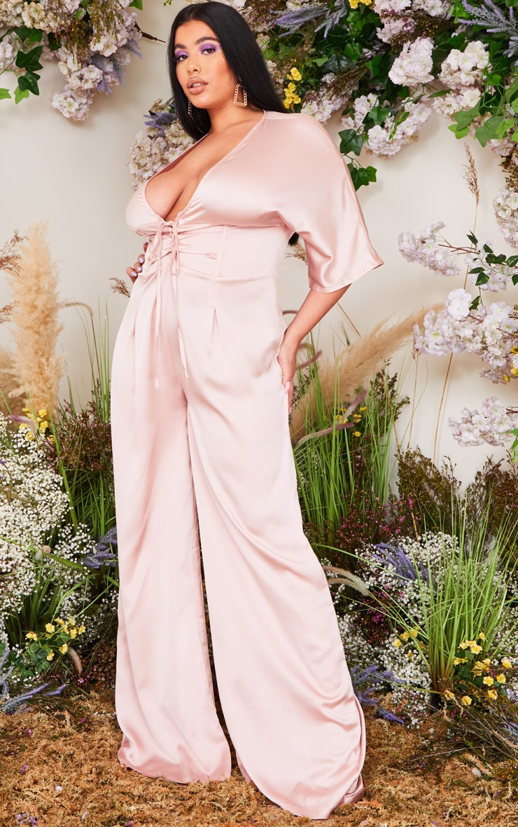 Plus Blush Satin Corset Detail Jumpsuit