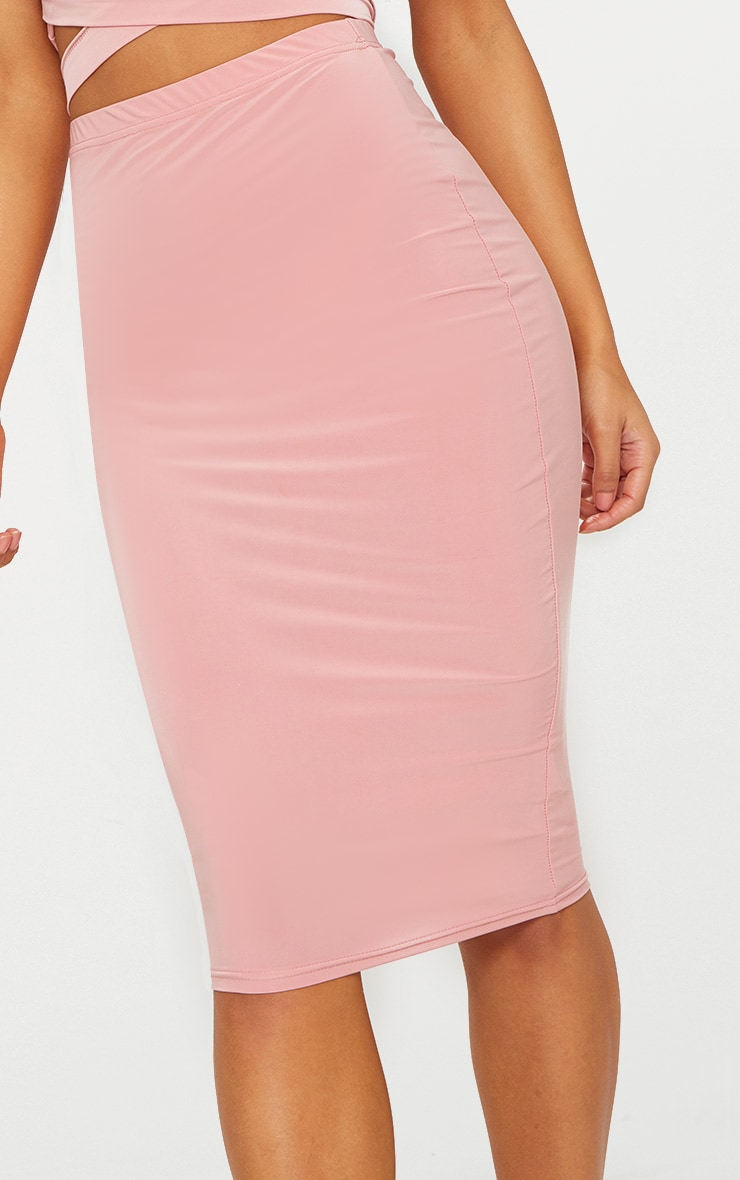Rose Slinky Midi Skirt  5