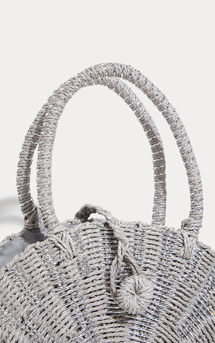 Silver Straw Round Cross Body Bag 4