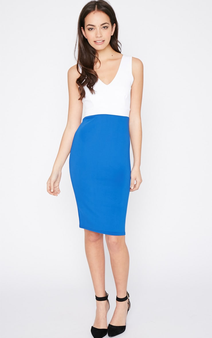 Adella Cobalt Bodycon Panel Dress 3