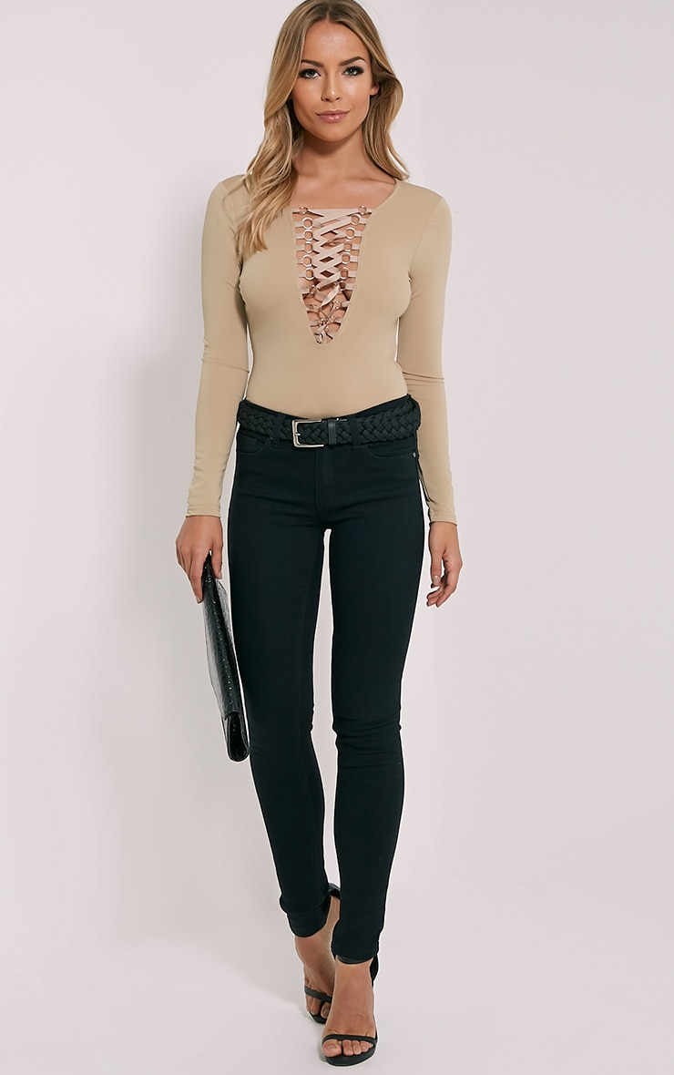 Enya Mocha Lace Up Front Bodysuit 3