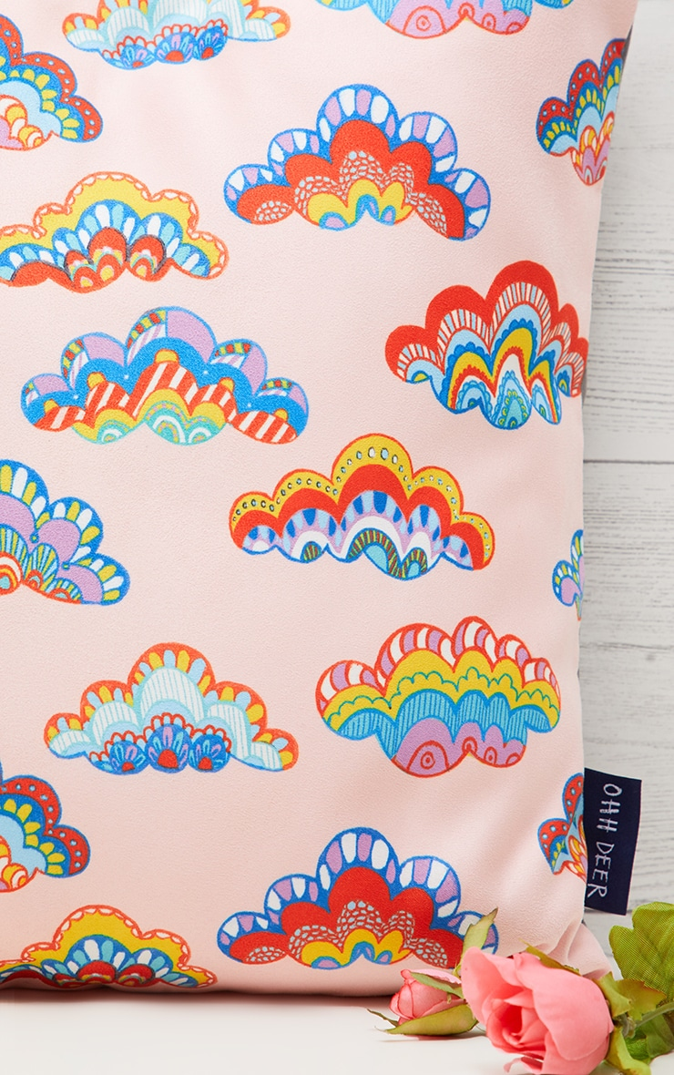 Pink Rainbow Clouds Cushion 2