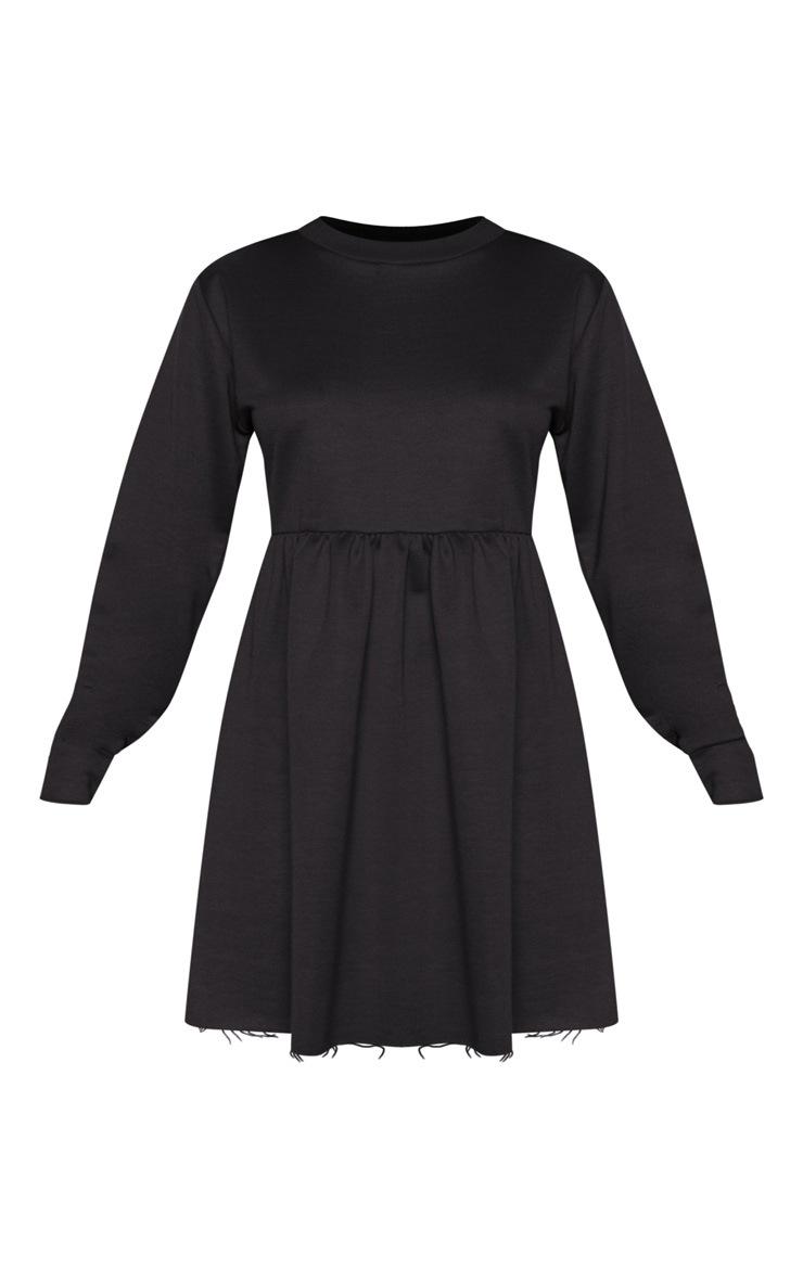 Black Sweat Long Sleeve Smock Dress 3