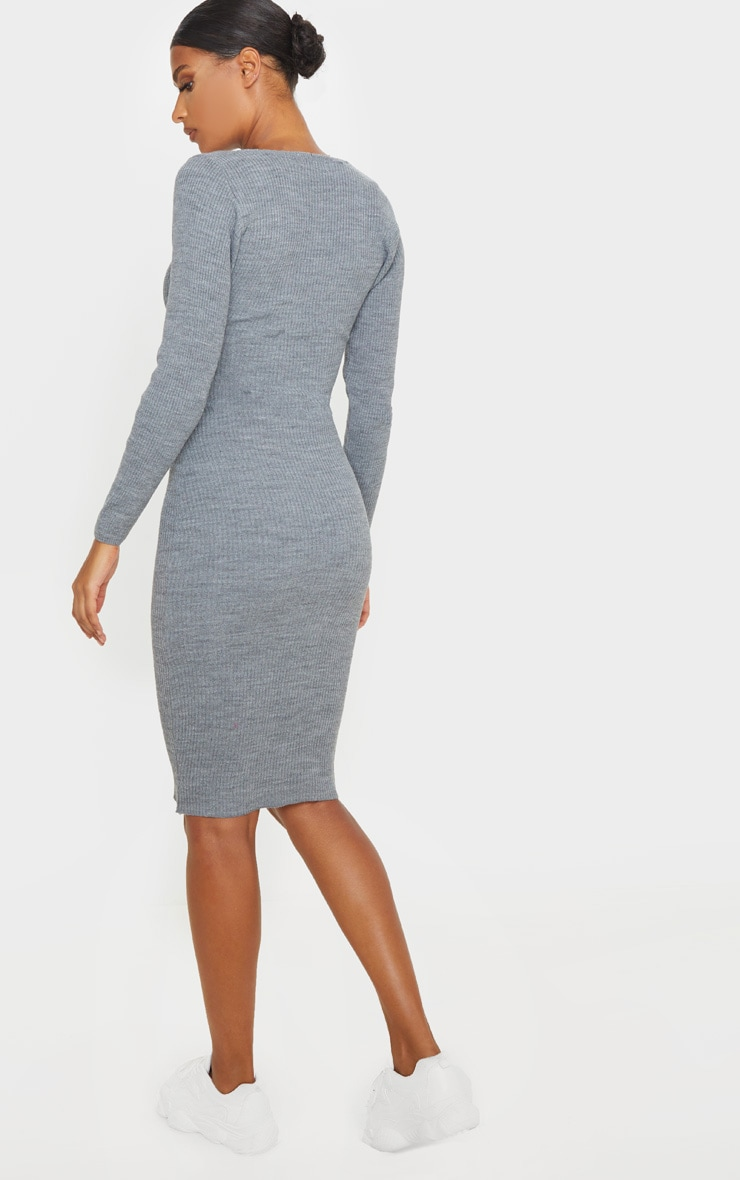 Grey V Neck Knitted Midi Dress 2