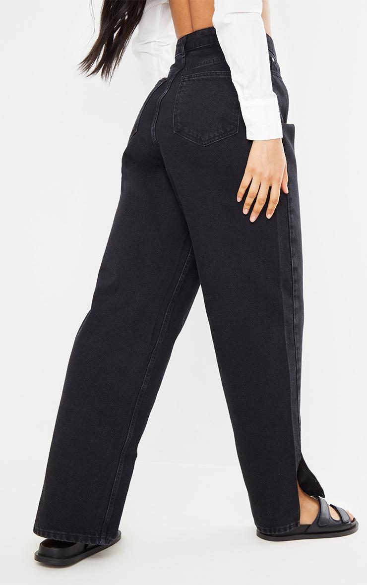 Washed Black Boyfriend Split Hem Jeans 3