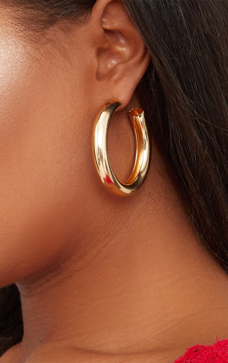 Gold Small Thick Hoops 3