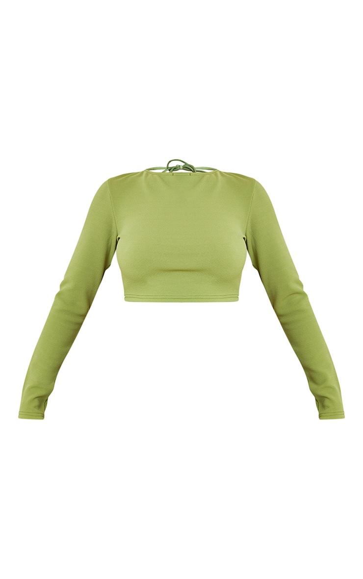 Green Crepe Backless Long Sleeve Crop Top 5