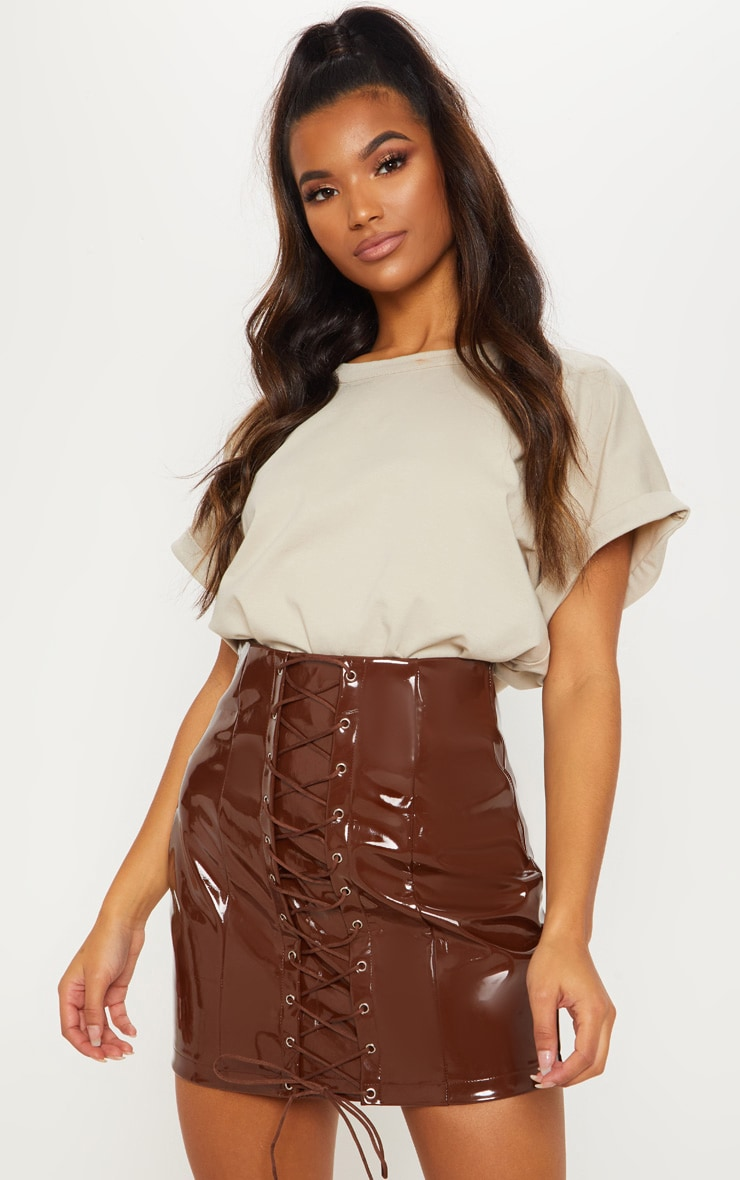 Chocolate Vinyl Lace Up Mini Skirt 1