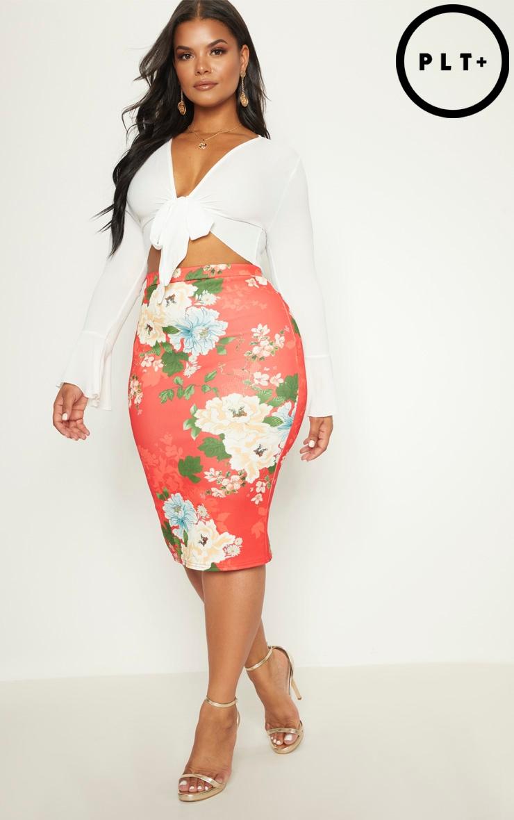 Plus Red Floral Print Midi Skirt 1