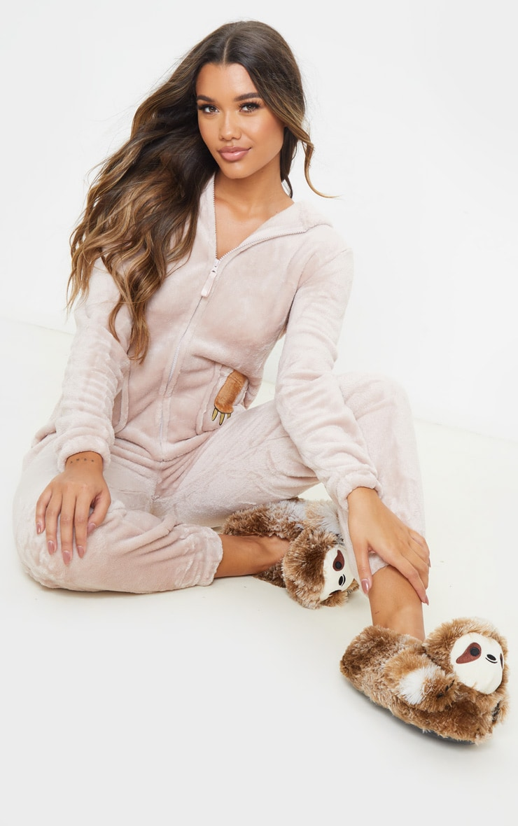 Beige Sloth Hooded Onesie 4
