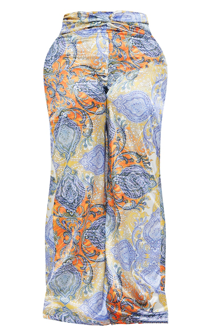 Plus Multi Paisley Printed Satin Ruched Waist Wide Leg Pants 5
