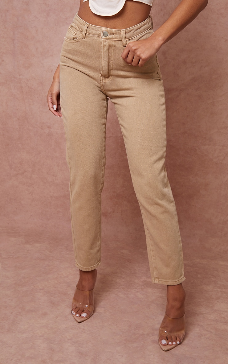 PRETTYLITTLETHING Tan Mom Jeans 2