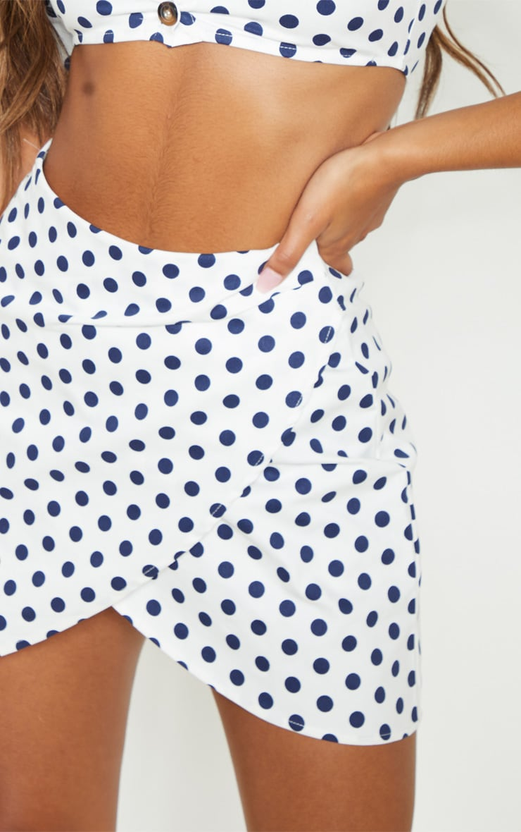 White Denim Polka Dot Wrap Over Skirt 6