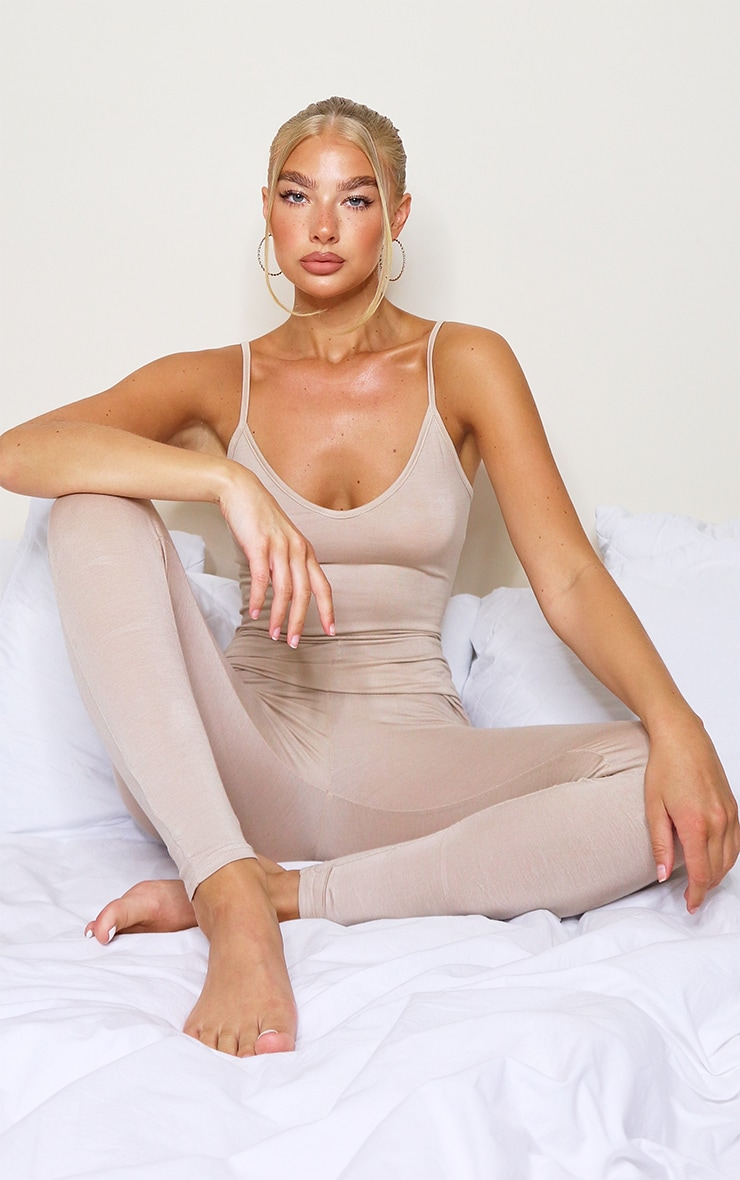 Stone Basic Strappy Plunge Jumpsuit 1