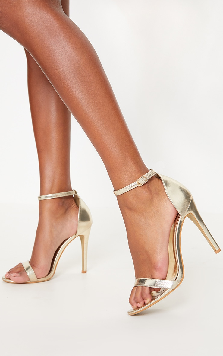 Gold Metallic Heeled Strappy Sandal 1