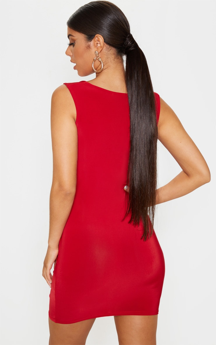 Red Slinky Ruched Front Square Neck Bodycon Dress 2