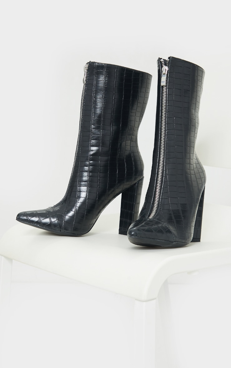Black Zip Front High Block Heeled Ankle Boots 3