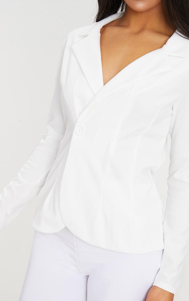 White Button Detail Longline Blazer 3