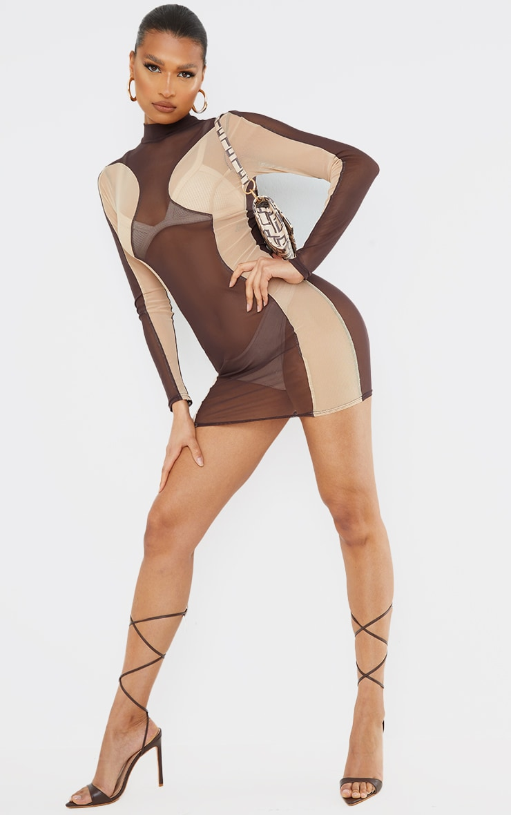 Chocolate Mesh Contrast Panel Long Sleeve Bodycon Dress 5