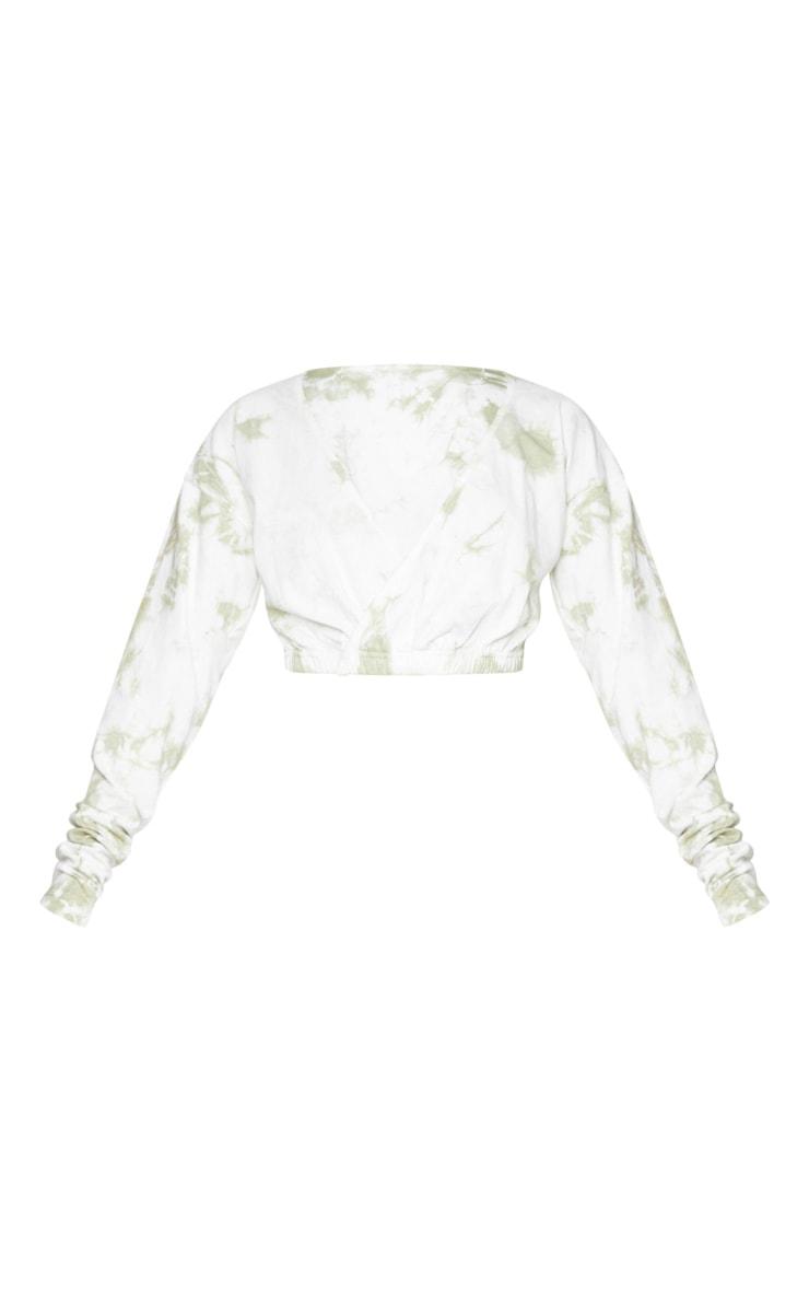 Olive Green Tie Dye Wrap Front Long Sleeve Crop Top 5