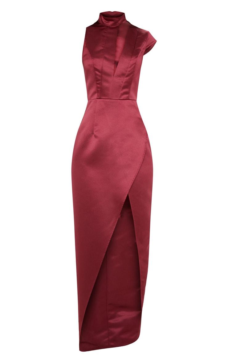 Burgundy Satin Drape Detail Wrap Maxi Dress 3