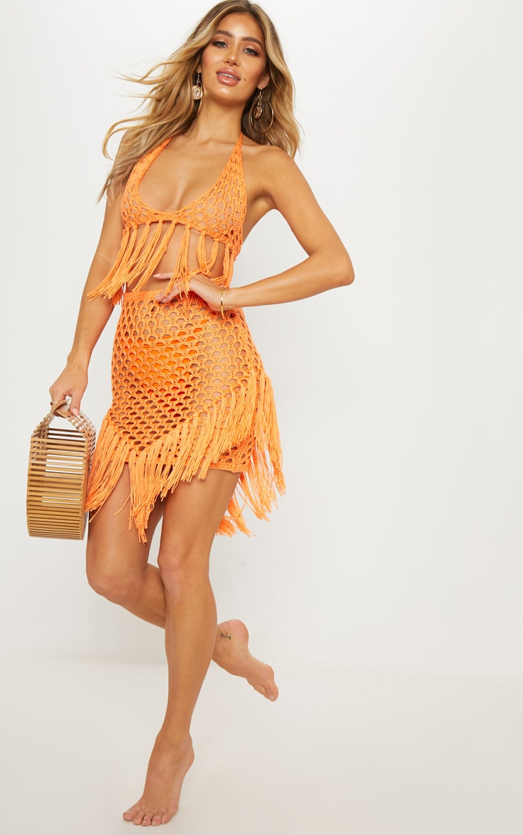 Orange Crochet Skirt