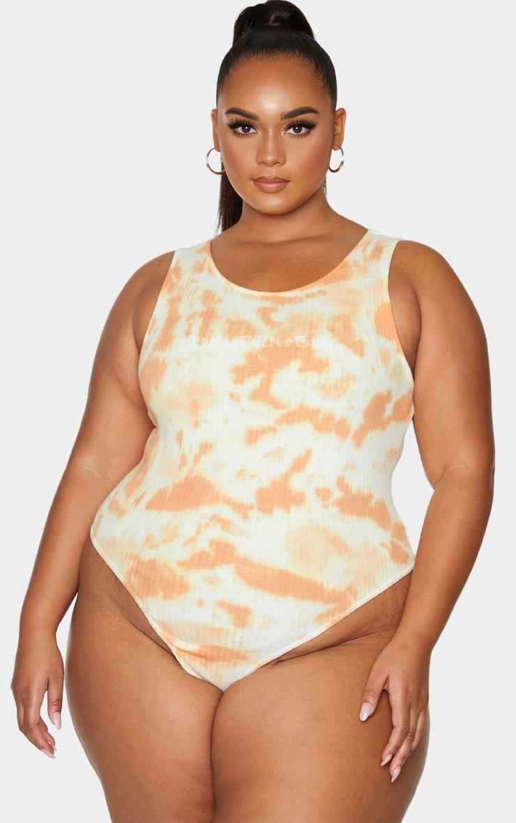 PRETTYLITTLETHING Plus Orange Tie Dye Thick Rib Bodysuit 2