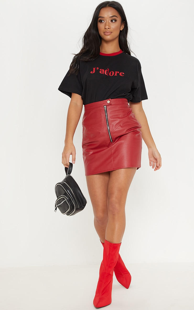 Petite Red Zip Detail Faux Leather Skirt 5