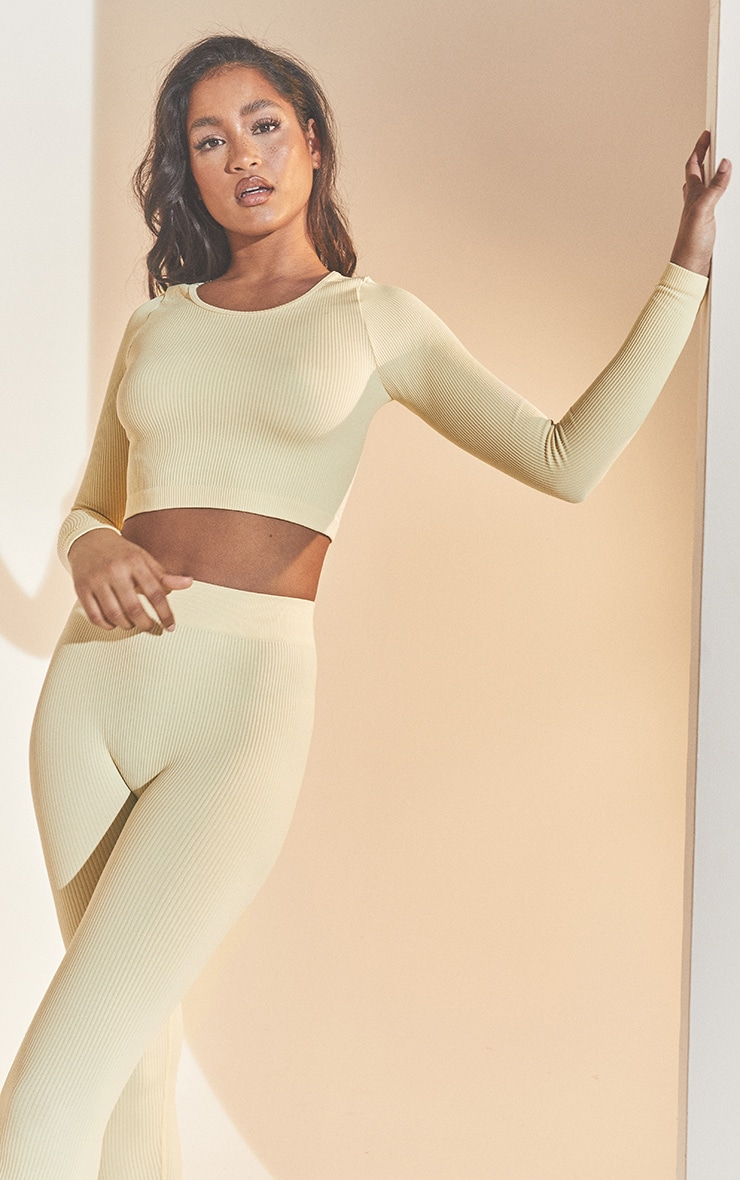 Cream Structured Contour Ribbed Round Neck Long Sleeve Crop Top 1
