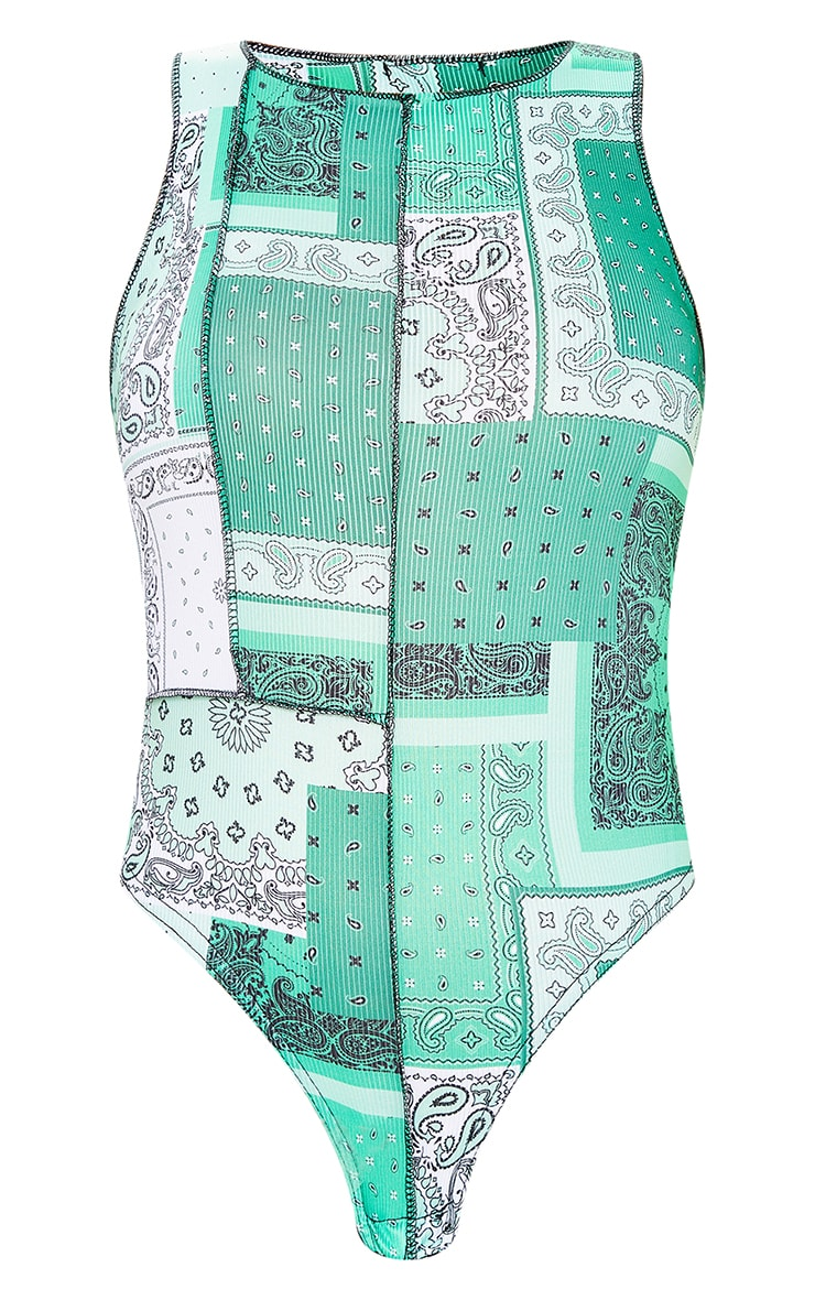 Green Bandana Patchwork Print Racer Neck Bodysuit 6