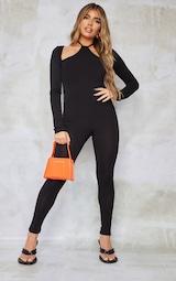 Black Long Sleeve Halterneck Strap Jumpsuit 3