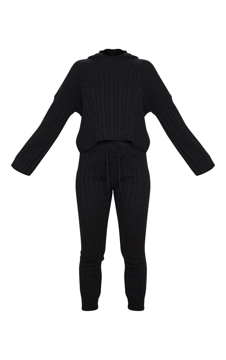 Black Cable Knitted Hooded Lounge Set 3