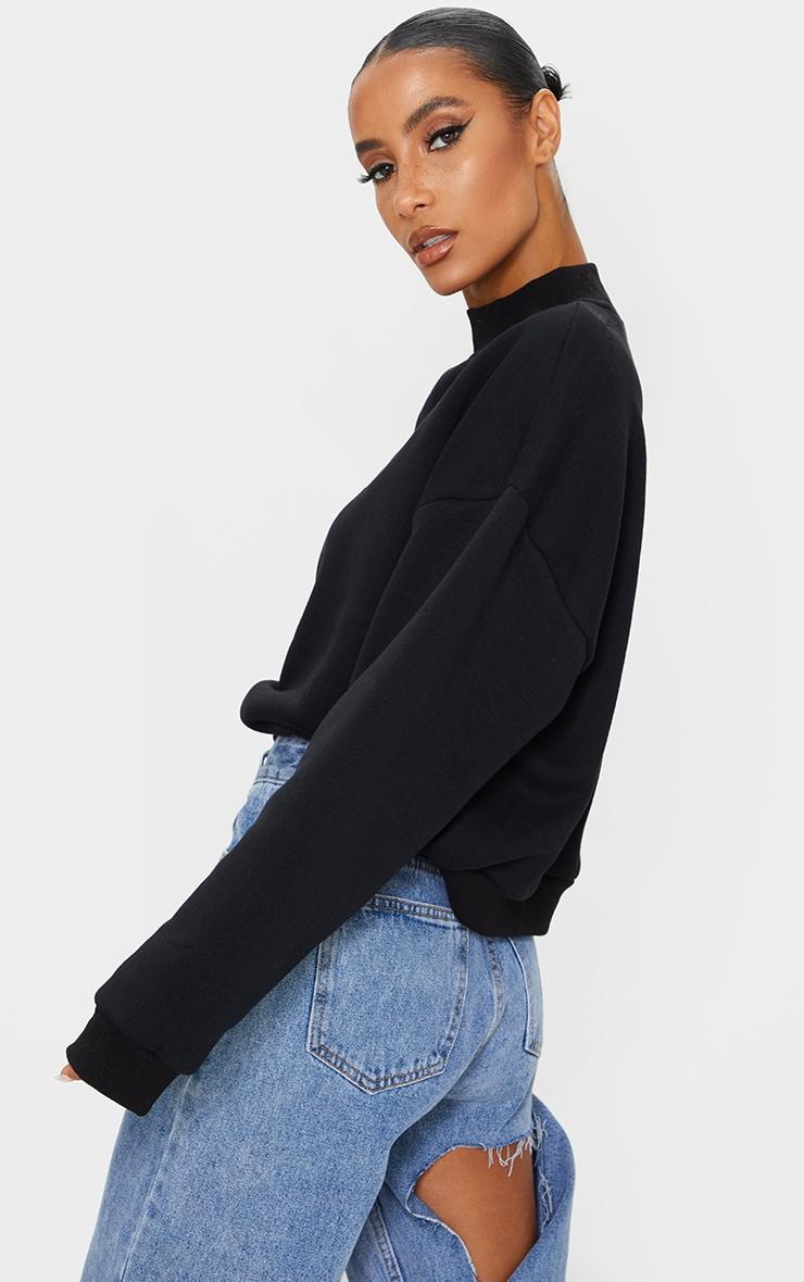 Black Social Slogan Embroidered Fleece Sweater 2